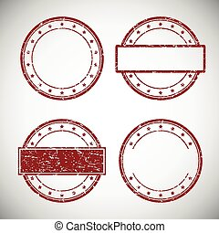 Set of red grunge rubber stamp