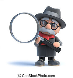 3d Old man looks through a magnifying glass - 3d render of...