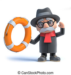 3d Old man holds out a life belt - 3d render of an old man...
