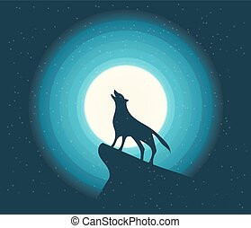 Vector. Wolf Howling