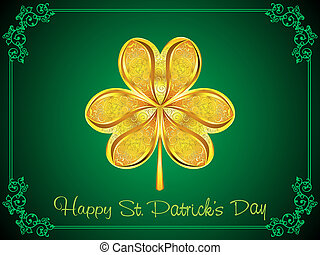 abstract golden st patrick clover vector illustration