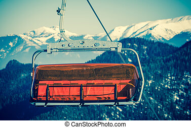 Orange cableway at Lo Tatras mountains, Slovakia