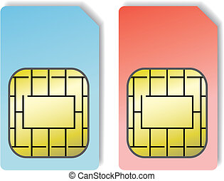 sim cards - 2 sim cards isolated on a white background,...