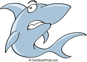 scary shark - a cartoon shark character isolated on white,...
