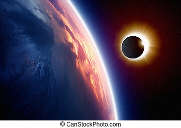 Sun eclipse - Abstract scientific background - planet Earth...