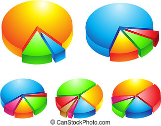 3d pie graphs - 5 colorful 3d pie graphs isolated on white,...