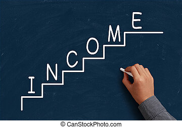 Income Growth on blue chalkboard with the hand of...