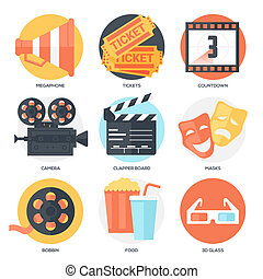 Cinema Icons Set (Megaphone, Tickets, Countdown, Camera,...