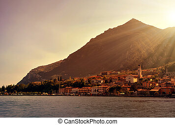 Limone sul Garda at sunset ,Lago di Garda, Italy