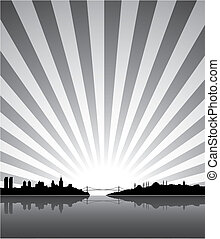 Sunny Istanbul silhouette background, vector illustration