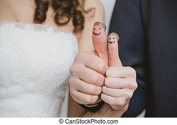 新郎, 有趣, 很少, 人們, 繪, 戒指, 手指, 新娘, 婚禮, 他們