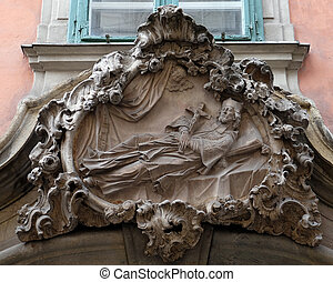Saint Francis Xavier, statue on the house facade in Graz,...