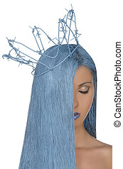 portrait of woman with blue hair and crown