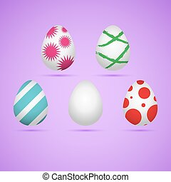 Colored easter eggs - Five colored happy easter eggs Vector...