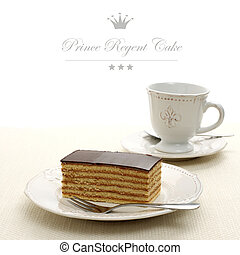 Bavaria cake, layers of biscuit with chocolate, text space