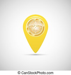Yellow marker for maps with watch
