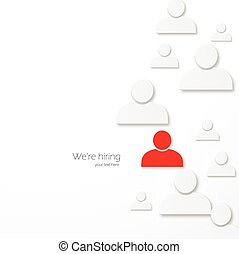 Hiring - Abstract illustration with paper white avavtar...