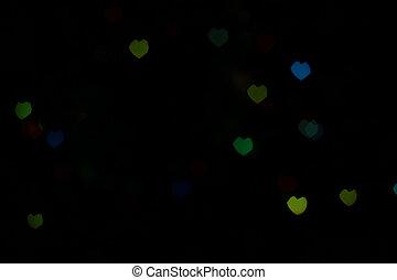 Green Blue Heartshaped Bokeh - Bokeh in a shape of a heart...