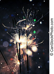 Heart Bokeh and Sparkler - Bengal fire, sparkler and...