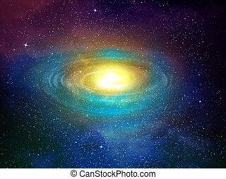 universo, enchido, com, estrelas, nebulosa, e, céu,