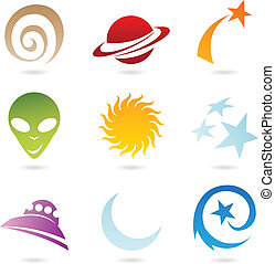 space icons - colourful fun space icons, vector illustration