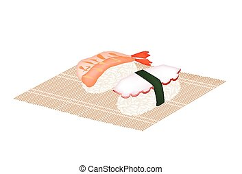 Shrimp Nigiri and Squid Nigiri on Bamboo Mat - Japanese...