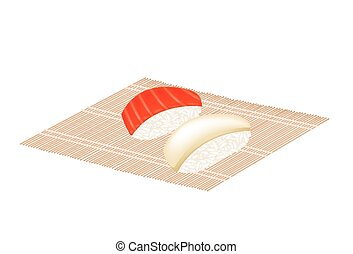 Salmon Nigiri and Squid Nigiri on Bamboo Mat - Japanese...