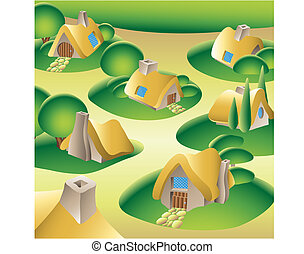 Village - a fantasy village in the forest, vector...