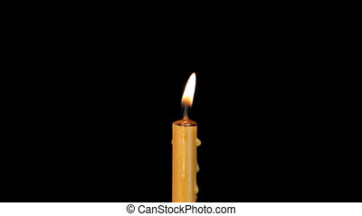 One candle wax burning. Alpha channel