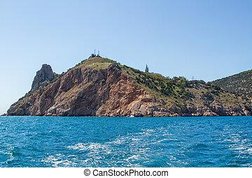 mar, paisagem, com, pedras, ligado, costa,