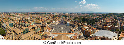 Rome view from St.Peter\'s Basilica - Panoramic View of Rome...