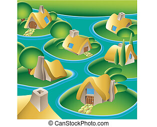 water village - a fantasy village on a river, vector...