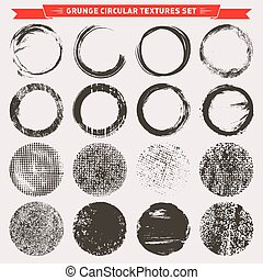 Grunge circular texture backgrounds - Set of 16 circular...