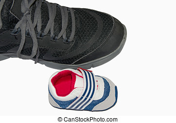 Sneakers comparative. Adult and baby footwear