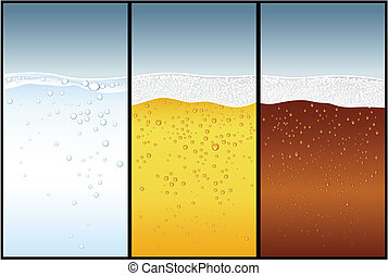 Water, Beer, Cola bubbles, vector illustration