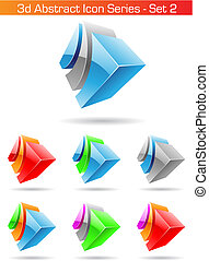 3d Abstract Icon Series - Set 2, vector illustration