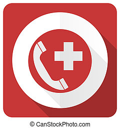 emergency call red flat icon