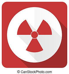 radiation red flat icon atom sign