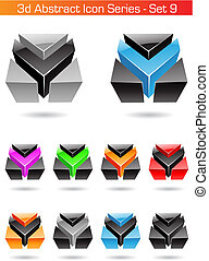 3d Abstract Icon Series - Set 9, vector illustration