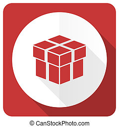 box red flat icon