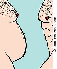 Before After Weight Loss - Profile view of two male torsos...