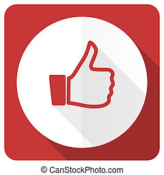 like red flat icon thumb up sign