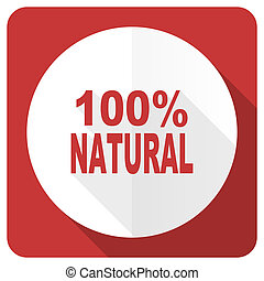 natural red flat icon 100 percent natural sign