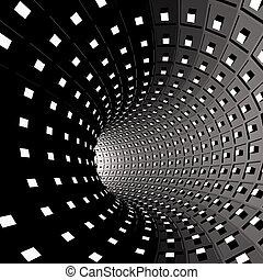 Abstract background Illustration of 3d tunnel with squares