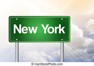 New York Green Road Sign, Travel Concept