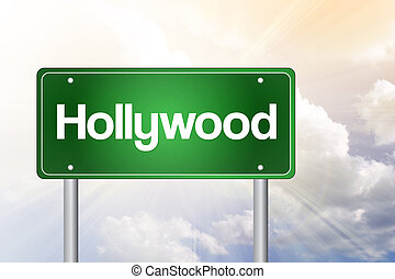 Hollywood Green Road Sign, Travel Concept