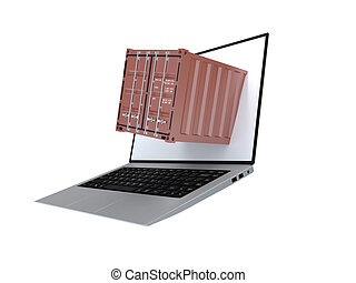 Laptop with container for transport of cargo