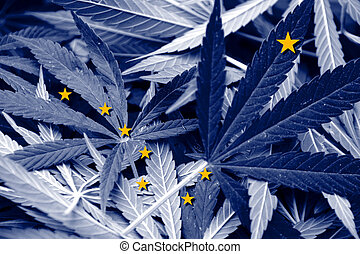 Alaska State Flag on cannabis background Drug policy...