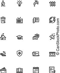 Paying bills icon set - Set of the bills to pay related...