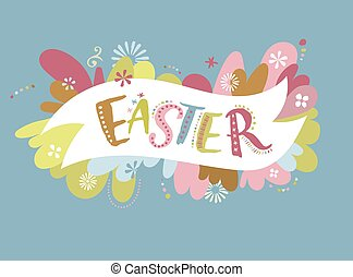 Happy easter - vector card - Happy easter - vintage vector...